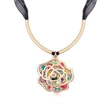 18K Rose Gold Plated Made with Swarovski Element Multi Colour Rose Big Necklace