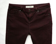 TOPSHOP Super Skinny LEIGH jeans jeggings maroon red KNEE RIPS 12 L W30 L34 L32