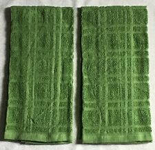 """2 Solid Cactus GREEN Plaid Windowpane Terry Cloth Kitchen Towels 16"""" x 26"""""""