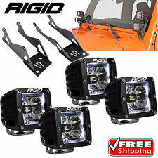 Rigid A-Pillar Mounts 4 Radiance White BackLight LED Lights for Jeep Wrangler JK