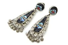 Antique 1930s Hand Painted Ceramic Dangle Earrings, Colorful Enamel And Sterling