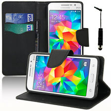 Cover Case black wallet Effect Fabric Samsung Galaxy Grand Prime/ Duos TV