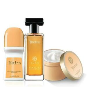 Avon Timeless Fragrance 3 Pcs Set (Spray Perfume, Skin Softner and Deod)