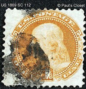 "US SC 112~1¢ B. FRANKLIN BUFF ""G"" GRILL 1869 UNG FINGER PRINT BLACK CANCEL F/VF"