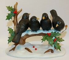 """1991 Porcelain Andrea By Sadek Figurine Four Colly Birds 5"""" Tall By 6 1/2"""" Wide"""