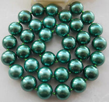 AAA 10mm Green South Sea Shell Pearl Round Beads Necklace 18''