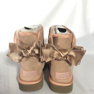 UGG Classic Mini Satin Bow Suntan Suede Fur Boots Womens Size 7 *NIB*