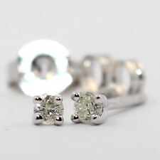 GENUINE NATURAL SPARKING DIAMOND 0.10ct H/SI1 9K SOLID WHITE GOLD STUDS EARRINGS