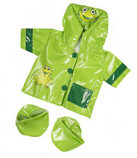 """Green Frog Raincoat & Boots outfit teddy bear clothes fits 15"""" Build a Bear"""