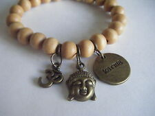 Spiritual Inspirational Healing Stacking Bracelet Karma Om Buddha ECO Wood Beads