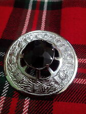 New Scottish Kilt Fly Plaid Brooch Black Stone/Highland Kilt Fly Plaid Brooches