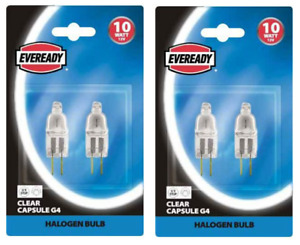 x 4 Eveready 10w G4 Dimmable GY6.35 Halogen Capsule Lamp - 12v Low Voltage