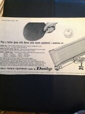 L1-6 Advert 1959 Barma Table Tennis Equipment By Dunlop