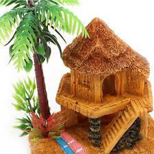 Beach House & Palm Tree Aquarium Ornament Fish Tank Decoration