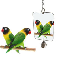 Hanging Parrot Chew Bell Mirror Play Toys Swing Parakeet Bird Budgie Toy Gift UK