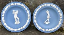 Wedgewood Blue Jasperware Trinket Plate Pair Man, Woman Golfing Made In England
