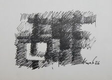 AVANT GARDE ABSTRACT CUBIST INK PAINTING SIGNED