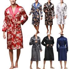 Kimono Retro Mens Satin Silk Pajamas Bathrobe Robe Dressing Loungewear Summer UK