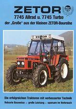 Prospekt Zetor 7745 Allrad Turbo 1992 Schlepper Trecker Traktor brochure deutsch