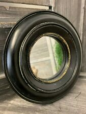 Retro Style Black & Gold Deep Frame Round Industrial Chic Porthole Mirror 17cm