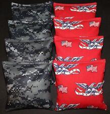 PATRIOTIC/ STAR/AMERICAN FLAG 8 CORNHOLE BEAN BAGS/ BAGGO TOSS Quality Handmade!