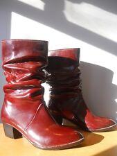 Vintage Winter Red Rubber Rain Scrunch Boots Snow Western Cowboy Heel Rockabilly