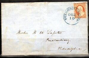 US 1850's SCOTT #11 3 CENTS ORANGE RED TYPE I ON COVER TIED BLUE PETERSBURG, VA