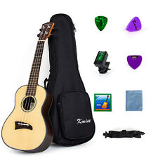 Kmise Concert Ukulele Solid Spruce Ukelele Kit with Tuner String Strap Picks Bag