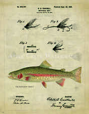 Fly Fishing Patent  Poster Art Print Vintage Lure Rainbow Trout Fish  PAT391