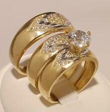 Gold  Trio Bridal Ring Wedding & Engagement Ladies & Men Set Brand New