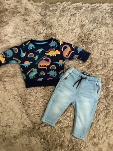 NEXT BABY BOYS 3-6 MONTHS OUTFIT, JEANS, DINOSAUR JUMPER BUNDLE COMBINED POST
