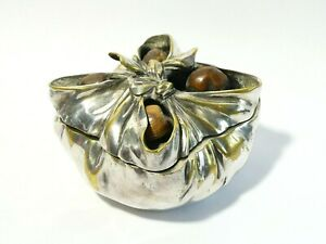 Antique Silver Plated Novelty Inkwell Knotted Cloth with 4 Real Hazelnuts a/f