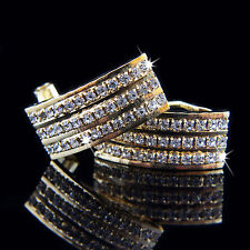 18k Gold GF Huggie Brilliant Beaded Elegant Earrings With Swarovski Crystals