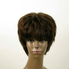 Perruque afro femme 100% cheveux naturel châtain ref SHARONA 03/6