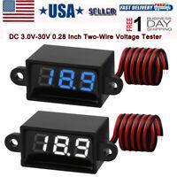 2pcs Waterproof Digital DC Voltmeter Tester Display Voltage Test Meter 3V-30V