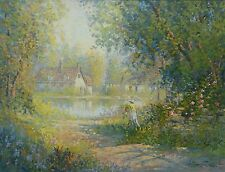 FIORA COZZI SIGNED LARGE FRAMED STUNNING OIL PAINTING CANVAS GARDEN COTTAGE