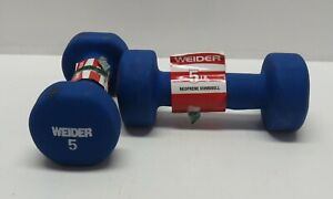 WEIDER Set of 5 Pound Blue Neoprene Dumbbell Weights - Total Weight 10 Lbs
