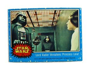 "1977 Topps Star Wars Series 1 Blue card #17 ""Lord Vader threatens Princess Leia"""