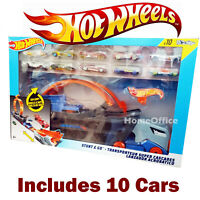 Hot Wheels Stunt & Go Hauler Truck Transporter Truck + 10 Die Cast Cars
