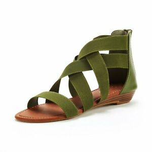 Women's Summer Flat Sandals Open Toe Flexible Elastica Gladiator Shoes Size 5-11