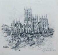 Ernest Coffin Etching Print Canterbury Cathedral Unframed on Paper Circa 1930