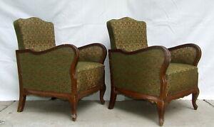Pair of Art Deco Armchairs. Club Cocktail Chairs. 1920 Antique Vintage Halabala.