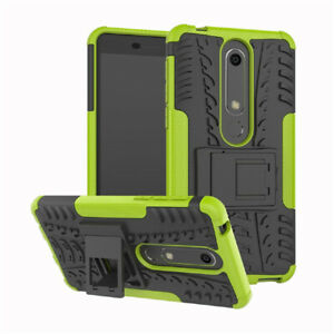 For Nokia 6 Shockproof Armor Stand Heavy Duty Case+Black Tempered Glassd