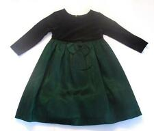 Talbots Kids Holiday Party Dress Green Black Size 2 Stretch Velour Christmas