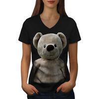 Wellcoda Cute Plush Womens V-Neck T-shirt, Teddy Bear Graphic Design Tee