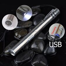 Mini USB Rechargeable LED Light Pen Torch Flashlight Stainless Steel Pocket Tool