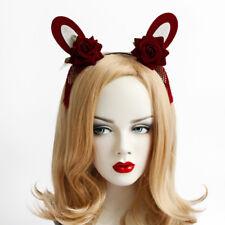 Headband Cosplay Flower Rose Bunny Girl Rabbit Ears Tassel Filigree Hairband
