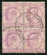 India SG125 KEVII 2a mauve Block of Four used