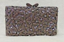 Gray Pewter ~Floral Handmade Austrian Crystal Purse Cocktail Evening Bag
