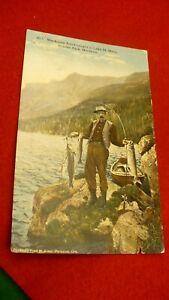Mackinaw trout fishing postcard Montanta Fred Kiser signed Glacier park #2055